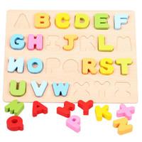 letra del alfabeto al por mayor-Nueva madera de educación temprana bebé preescolar aprendizaje ABC alfabeto letra 123 tarjetas de números juguetes cognitivos Animal Puzzle