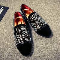 Wholesale Toe Night Club - Men's Rhinestone Casual Slip On Loafers Night Club Pointed Toe Flats Dress Shoes Leather 4Styles YHU3678