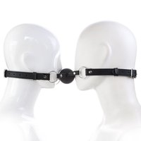 Wholesale Leather Gag Strap - HOT TIME Double Leather Straps Erotic Toy Silicone Ball Gag Open Mouth Gag Adult Game For Couples