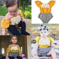 Wholesale Short Sleeve Check - INS Summer Baby Girls Boutique Jumpsuits OFF Shoulder Rompers Infant Lace ClothesToddler Sets Check Pattern Bodysuits