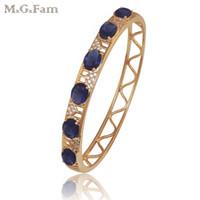 frauen gold armbänder blau großhandel-(77BA) 2016 neue Armreif Frauen 18 Karat vergoldet blau Stein keine Haut Allergie Nickel frei