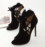 Wholesale Made Dress Sandals - 2017 newly Black pu made suede women ankle sandals hollow out lace up lady party dress pumps