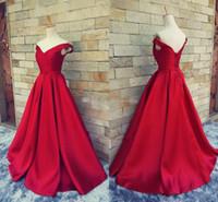 Wholesale One Shoulder Corset Back Gown - 2017 Simple Dark Red Prom Dresses V Neck Off The Shoulder Ruched Satin Custom Made Backless Corset Evening Gowns Formal Dresses Real Image