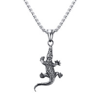 Wholesale Stainless Steel Nacklace - fashion and popular nacklace jewelry 45mm Titanium steel alligator pendant silver color for men weight 24.1g