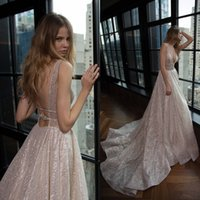 Wholesale Sexy Dress Glitter - Glamorous 2016 Berta Wedding Dresses Sexy Plunging V Neck A Line Backless Shiny Glitters Fabic Champagne Silver Bridal Gowns Custom Made