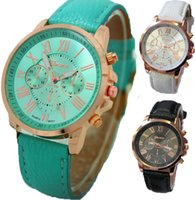 Geneva Roman Watches Numerals Faux Leather Analog Quartz Wristwatches Unisex Quartz Casual Sport Watch DHQ de qualité supérieure