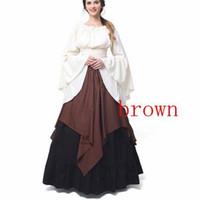 Wholesale Medieval Evening Dresses - Wholesale Plus Size Womens Renaissance Medieval Costume Dress Gothic Victorian Fancy Evening Dresses Big Size Free Shipping