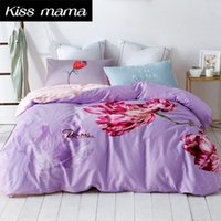 100 coton 3D Ensemble de literie king size Housses de couette ensemble Reine taille Double unique linge de lit feuille literie Purple Flowers