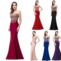 Wholesale In Stock Burgundy Evening Dresses Mermaid Sheer Jewel Neck Long Evening Gowns Illusion Back Floor Length Prom Dresses Real Photo CPS262
