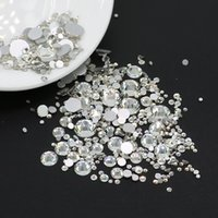 Wholesale Hot Fix Rhinestones Mixed Sizes - Mix size glass clear color non hot fix rhinestone hottest nail arts flat back Crystal clear stone many size