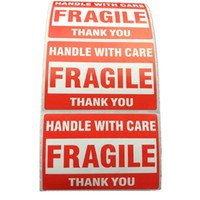 500pcs Packing Warning Stikcer FRAGILE Handle With Care With THANK YOU Shipping Label Sticker 1 Roll 2x3 Inches ( 51 X 76mm )