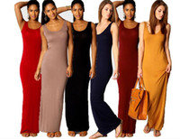 30pcs Frauen Weste Tank Maxi Kleid Seide Stretchy Casual Sommer Lange Kleider Ärmellos Backless Lady Dress M079