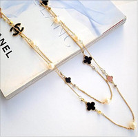 Wholesale Black Pearl Gold Necklace - Top Brand Two Layer Black and White Beaded necklace simple desgin necklace free drop shipping