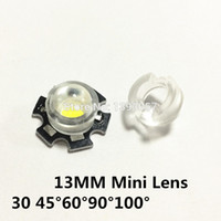 Wholesale Mini Reflectors - Wholesale- 20pcs lot 13mm LED mini Lens 30 45 60 90 100 Degree Needn't Holder 1W 3W synthetical IR LED Power lenses Reflector Collimator