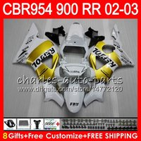 Wholesale Honda Cbr 954 Rr - Body For HONDA CBR900RR CBR954 RR CBR954RR 02 03 CBR900 RR 66HM11 Repsol gold CBR 900RR CBR 954 RR CBR 954RR 2002 2003 Fairing kit 8Gifts