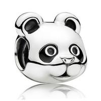 Wholesale Glass Charm Panda - Authentic 925 Sterling Silver Animal Bead Charm Black Enamel Peaceful Panda Beads Fit Women Pandora Bracelet Bangle Diy Jewelry HKA3326