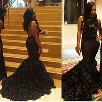 Wholesale new models skirt for sale - Group buy New Sexy Black Girls Lace Top Mermaid Evening Dresses Halter Neck Backless Court Train Tiered Skirts Custom Made K17 Prom Gowns