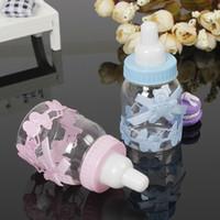 gefälligkeiten für die taufe großhandel-Großhandels-12Pcs Baby-Dusche-Geschenk-Kasten-Flaschen-Blau-Jungen-Rosa-Mädchen-Taufe Brithday Partei-Bevorzugungs-Geschenk-Bevorzugungs-Süßigkeits-Kasten-Flasche