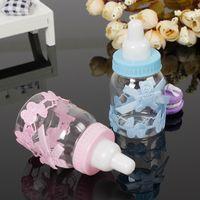 ingrosso favori di battesimo doccia per neonati-Wholesale-12Pcs Baby Shower Gift Box Bottiglia Blue Boy Pink Girl battesimo battesimo Brithday Bomboniere Bomboniere Bomboniera