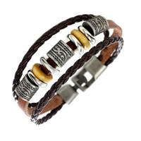 Wholesale Europe Fashion Charm Bead Bracelet - Wholesale- Bracelet Wholesale 2017 New Fashion Jewelry Leather Bracelet for Women Men Bangle Europe Beads Braid Charms Bracelet Band