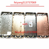 boîtier arrière de l'iphone 5g achat en gros de-1pcs Une qualité complète logement arrière batterie porte couvercle moyen cadre en métal pour iphone 5 5g 5s pièce de rechange