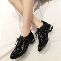 Wholesale Women Leather Outfit - Letu266 Fashion Low Heel Pearls Trainers Brogues Oxfords Flats Lace-Up Casual Outfits Genuine Leather Women Shoes Pumps Sz 35-39