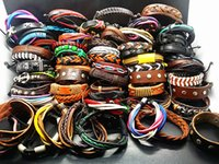 Wholesale Resin Characters - Wholesale assorted 100PCs Mix Styles Hand Made Fashion Leather Alloy Cuff Ethnic Tribes Bracelets Brand New