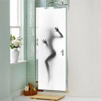 Wholesale 3d Glasses Sexy - 200x77cm set Sexy Beauty Lady's Shadow in Bathroom decoration Creative Simulation of 3D Scenes Interesting Door Sticker