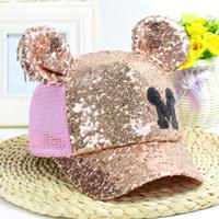 Wholesale Mouse Boys - The New Boys Girls Sequins Mouse M Ears Mesh Hat Characte Snapback Bone Baseball Caps Children Sun Cap Casquette Hat