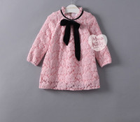 Wholesale Girl Dress Lace Overlay - 2017 New Spring Children Girls Lace Overlay Pink Red Princess Party Dresses With Velvet Warm Dress Clothing B4420