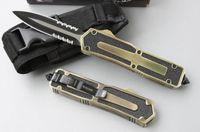 couteaux achat en gros de-Promotion chaude !! Couteaux automatiques tactiques MICRO TECH Scarab 440C Lame double dents frontales avec poche tactique / Gaine couteau tactique de survie