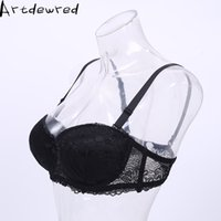 Wholesale Thick Underwear Pads - BC Push Up Women Lace Bra 1 2 Cup under the thin thick Gathered Strapless Plus Size Brassiere Padded Underwear 32-38 B C D