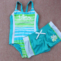 Wholesale Kids Sun Protection Swimsuit - 6pcs lot WholesaleBaby Big Girls Swimsuit + Beach Shorts kids two pieces swim wear Sun Protection UV Spf 50+ Kids Bikini Beach suit