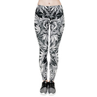 Frauen Leggings Grau Lucky Leaf 3D Grafik Druck Mädchen Skinny Stretchy Yoga Tragen Hosen Lady Gym Fitness Bleistift Fit Workout Hose (J31764)