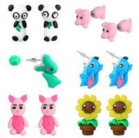 brincos de animal 3d venda por atacado-Handmade 3D Argila Do Polímero Lindo Coelho Stud Elefante Tigre Brinco Para As Mulheres Da Menina Animal Brincos Jóias ER762