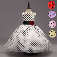 Wholesale Dress Polka Dot Pink Girls - Princess Girl Dancing Party Wear Christmas Clothes Flower Teenager Girls Kids Polka Dot Fluffy Formal Wedding Dress