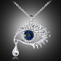 Wholesale tear drops - Romantic blue crystal evil eye tear drop gun black snake chain sweater pendant necklace Women gift 162022