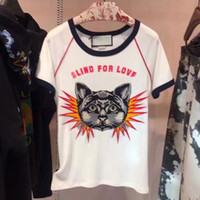Wholesale Designer Casual Shirts For Women - HIGH QUALITY Newest Fashion 2017 Designer T Shirt Women Cat Embroidery 25 Letter Print Casual T shirt Blind for Love Tees