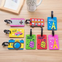 Wholesale Soft Rubber Luggage Tags - 5 Piece Cute Cartoon Luggage Tag Soft Silicone Rubber Luggage Label Luggage Accessories Men and Women General Gift hot sale