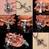 Wholesale Long Fashionable Necklace - Fashionable New Style Selling Stainless Steel Punk cross long style necklace personality pendant Leather Chain - Free Shipping + Free Gift