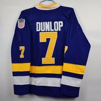 Wholesale Dunlop Blue - #7 REGGIE DUNLOP CHARLESTOWN JERSEY SLAP SHOT SlapShot movie hockey jerseys