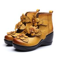 botas de cuña zapatos de boda al por mayor-Cuero de vaca Flores zapatos de mujer tacones altos cuñas zapatos de boda 2019 nueva primavera otoño zapatos de cuero genuinos cómodos botas de mujer