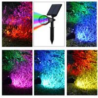luz de punto llevada rgb impermeable al por mayor-Umlight1688 4TH GEN 7 LED 5050 SMD Energía solar RGB LED Luz de césped IP65 Impermeable al aire libre Jardín Camino Lámpara puntual Colorido RGB Automático