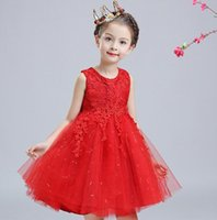Wholesale Big Wedding Dress Ball Gown - Baby Girls Lace Wedding Dresses Gauze Sequins Children Tutu Dress Fashion Big Bowknot Party Dress Princess Ball Gown Red White Pink wt8301