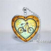 Wholesale Bicycle World - 10pcs lot Around The World on a Bicycle Pendant, Bicycle heart Necklace Glass Photo Cabochon Necklace