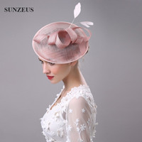 Wholesale Pink Wedding Hair Accessories - High Quality Hair Fascinators Feathers Bridal Hats For Wedding Mothers' Hats Hoed Voor Bruiloft Vrouwen Church Headpiece Hair Accessories