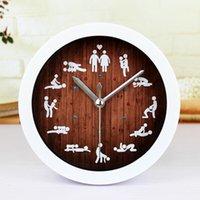 Wholesale Sex Tables - Wholesale- 5'' Sex Position 12 Styles Round Wall Clock 3D Desk Table Clock Silent Non-ticking Home Decor Wooden Tone Quartz Alarm Clock