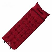 Wholesale Air Filled Pillow - Wholesale- Outdoor Single Automatically Suede Moisture Pad Fill Foam Air Mattresses Inflatable Mattress Sleeping Pads With Pillow Camping