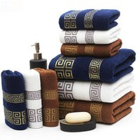 Wholesale Set Beach Towels - Fashion Embroidered Towel Sets White Beach Bath Towels for Adults Luxury Brand High Quality Soft Face Towels 3 PCS set