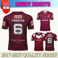 Wholesale Nrl Rugby League - 2017 2018 NRL National Rugby League Australia Queensland QLD Maroons Rugby jersey Johnathan THURSTON 6 RUGBY jerseys shirts
